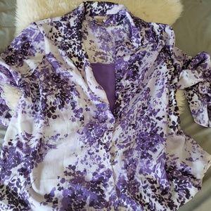 White stag purple button up plus size blouse